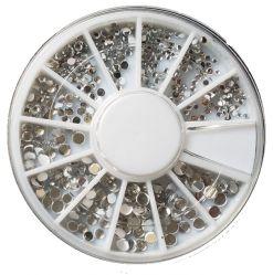 KM-16 Круглые декоративные стразы (серебро)
