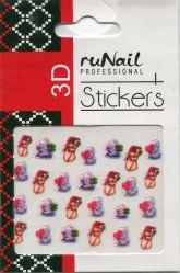 Наклейки для дизайна ногтей 3D (новогодние: снеговики и мишки), №2064