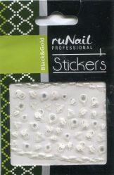 Наклейки для дизайна ногтей (новогодние, черные и золотые) №2067