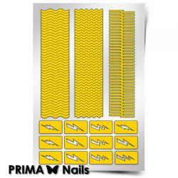 Трафарет для дизайна ногтей PRIMA Nails. Волны и молнии