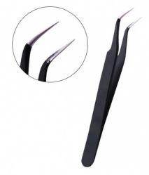 TW-4 Пинцет для наращивания ресниц, скошенный черный JN