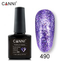 №490 Гель-лак CANNI Platinum Purple Glitter 7,3мл.