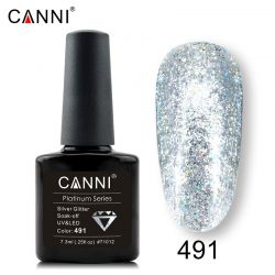 №491 Гель-лак CANNI Platinum Silver Glitter 7,3мл.