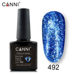 №492 Гель-лак CANNI Platinum Blue Glitter 7,3мл.