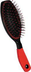 Щётка для волос пластмассовая большая овальная с рифленой ручкой Beauty