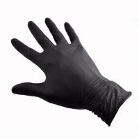 Перчатки резиновые (НИТРИЛ, NBR) черный S без порошка DGP 100шт.