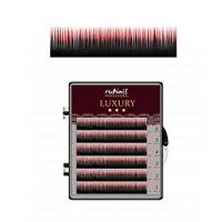 Ресницы для наращивания Luxury, Ø 0,15 мм, Mix C, (№10,12,14), цвет: черно-красный, 6 линий Runail Professional