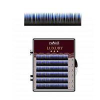 Ресницы для наращивания Luxury, Ø 0,15 мм, Mix C, (№10,12,14), цвет: черно-синий, 6 линий Runail Professional