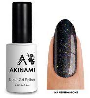 Топ для гель-лака AKINAMI Glitter Top №2, 9мл. (прозрачный с малиновыми, синими,золотистыми блестками)
