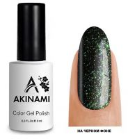 Топ для гель-лака AKINAMI Glitter Top №7, 9мл. (прозрачный с зелеными блестками)