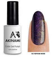 Топ для гель-лака AKINAMI Glitter Top №8, 9мл. (прозрачный с фиолетовыми и золотистыми блестками)
