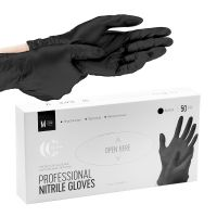 Перчатки нитриловые черные, 50 шт, р-р M Lucas` Cosmetics.