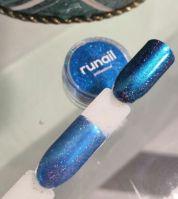 Зеркальная пыль для втирки с шиммером Runail professional (сине-зеленый) 1,5гр