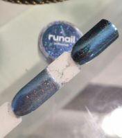 Зеркальная пыль для втирки с шиммером Runail professional (сине-голубой) 1,5гр