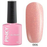 №006 Гель-лак PINKY Classic Ля Визаж 10мл. (розовый молочный с золотым шиммером)