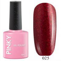 №025 Гель-лак PINKY Classic Фламенко 10мл. (насыщенный красный с красно-серебристыми блестками)