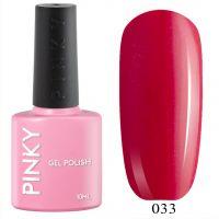 №033 Гель-лак PINKY Classic Бачата 10мл. (алый с мерцающим розового-голубым шиммером)