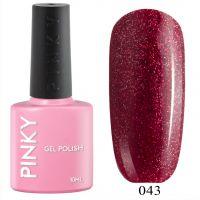 №043 Гель-лак PINKY Classic Кадриль 10мл. (темно-красный с голографическим шиммером)