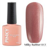 Каучуковая молочная база PINKY Milky Rubber Base 013 10мл. (лилово-бежевый насыщенный с голографическим и золотым микрошиммером)