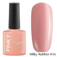Каучуковая молочная база PINKY Milky Rubber Base 016 10мл. (розовый натуральный с голографическим и золотым микрошиммером)