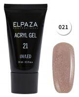 Акригель #21 ELPAZA розовый-натуральный с мерцающим шиммером 30мл.(Полигель)